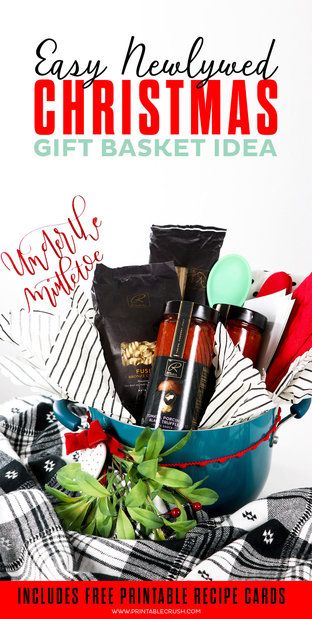 This Newlywed Christmas Gift Basket is filled with • Signature RESERVE™ pasta and sauces, pot holders, and recipe cards - something every newlywed couple needs in a new home!