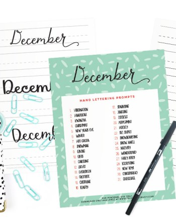 Get 34 December Hand Lettering Worksheets and Prompts FREE and practice daily to improve your hand lettering! Includes 31 sheets in three styles!