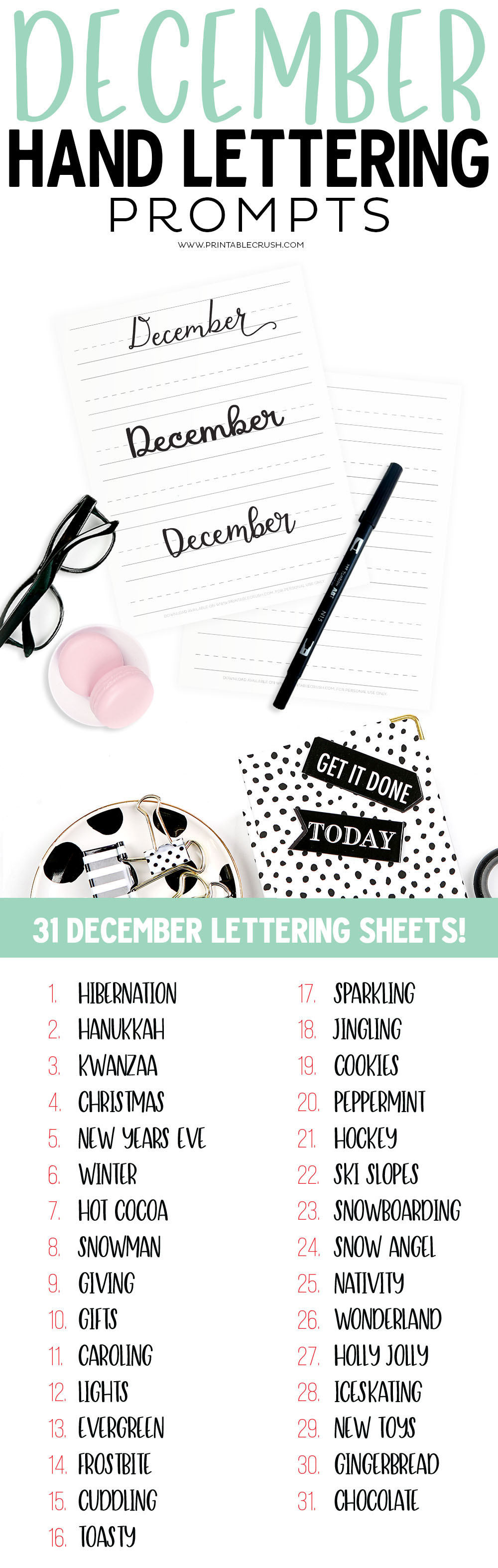 Get 34 December Hand Lettering Worksheets and Prompts FREE and practice daily to improve your hand lettering! #handletteringprompts #decemberprompts #decemberworksheets