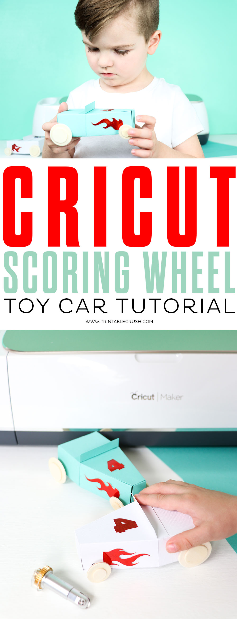 Check out this Cricut Scoring Wheel Toy Car Tutorial! It only takes a few minutes to make these adorable cars.