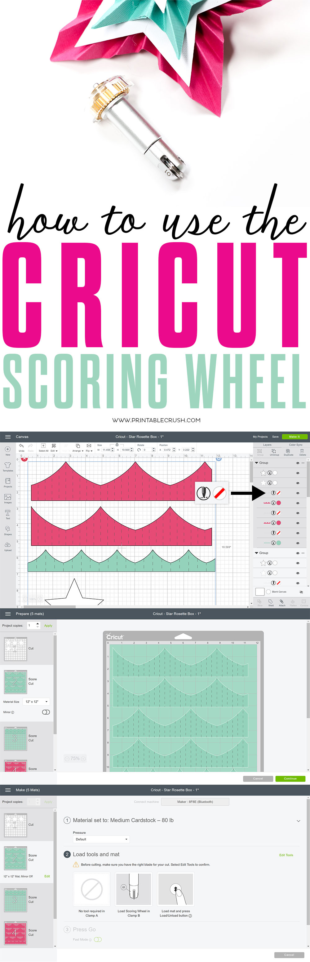 The Cricut Scoring Wheel makes it easy to create fold lines in your paper projects! Learn how to use the score lines tool in Cricut Design Space using this tutorial.