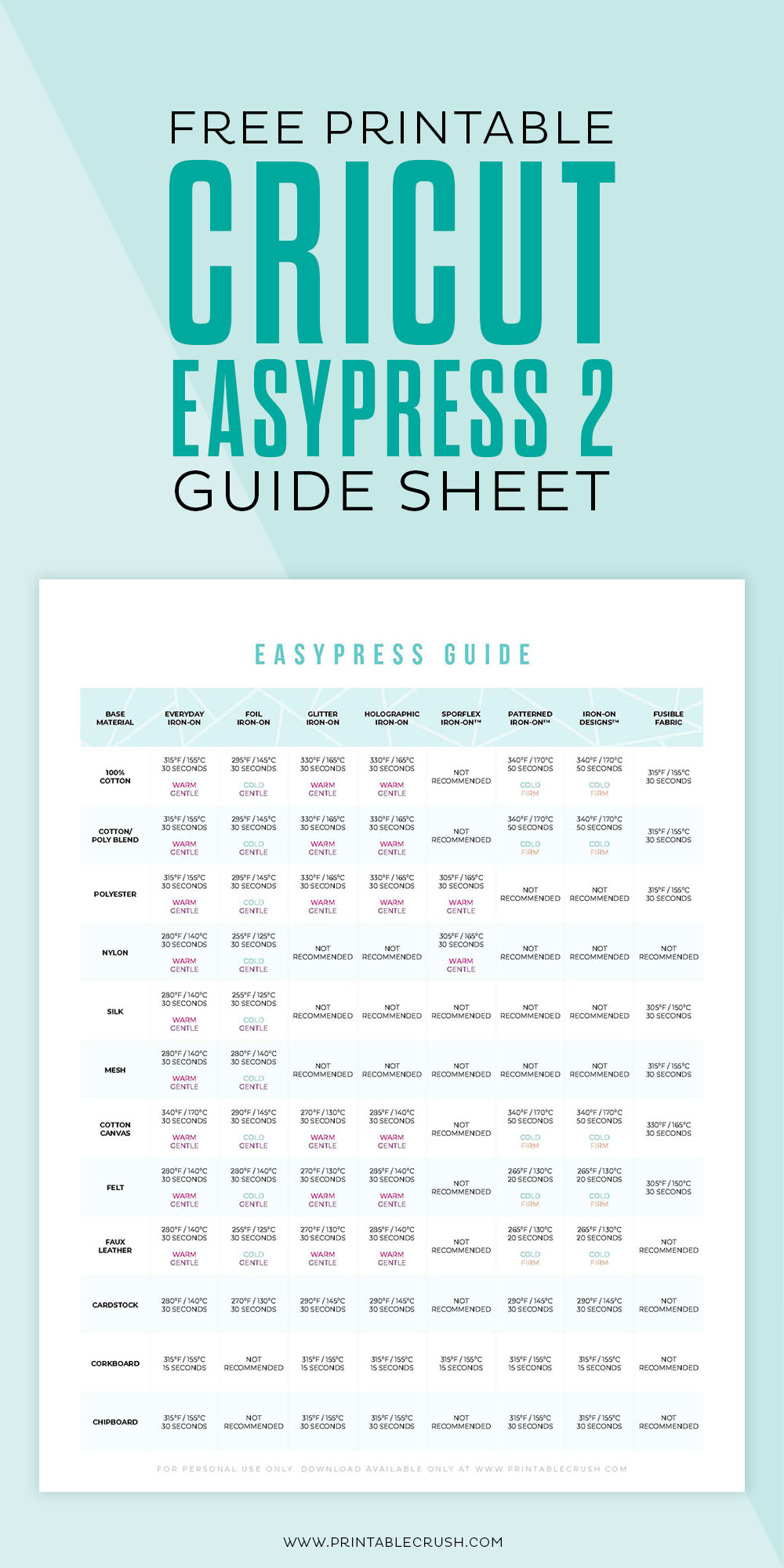 Download this FREE Printable Cricut EasyPress 2 Guide Sheet so you can make the perfect iron-on project every time!