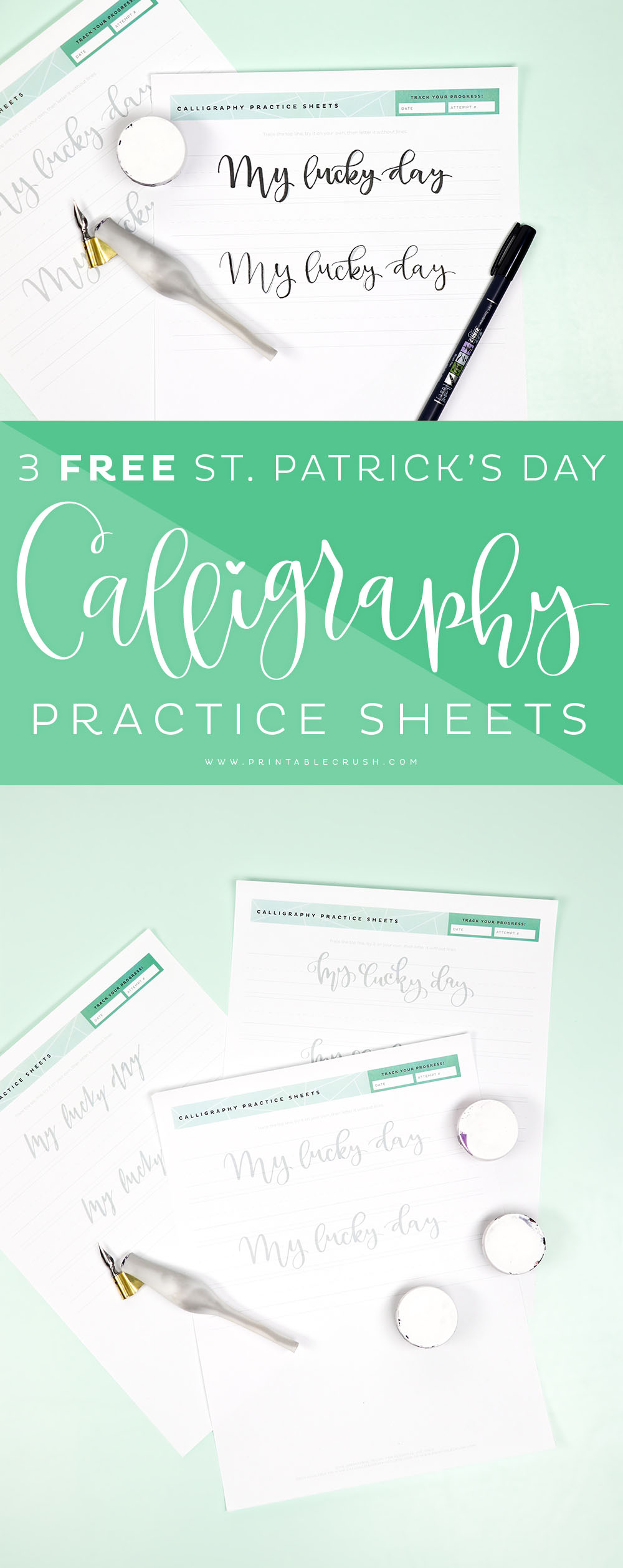 Practice your calligraphy with these 3 FREE St. Patrick's Day Calligraphy Practice Sheets!