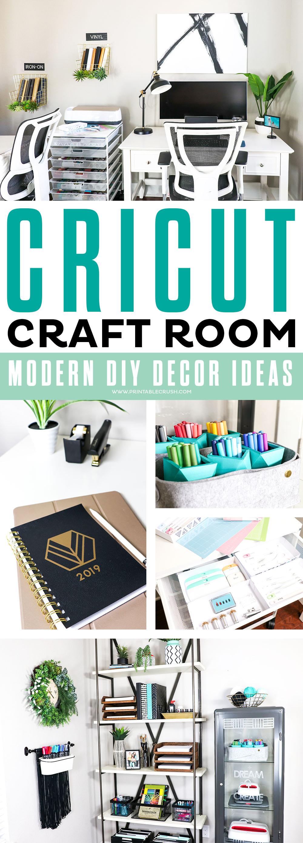 Check out these beautiful Home Office and Cricut Craft Room DIY Decor Ideas!