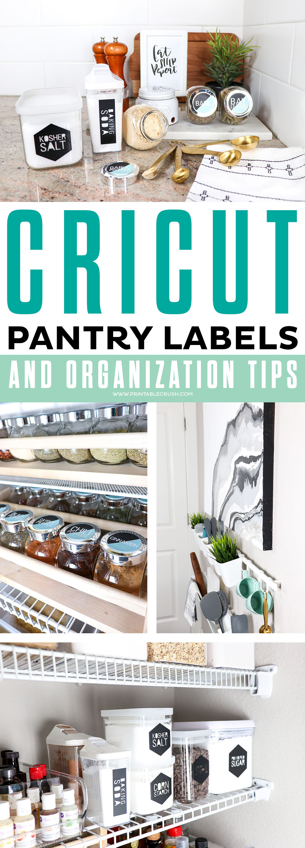 Get these FREE Modern Cricut Pantry Labels and some pantry organization tips to keep your kitchen tidy!