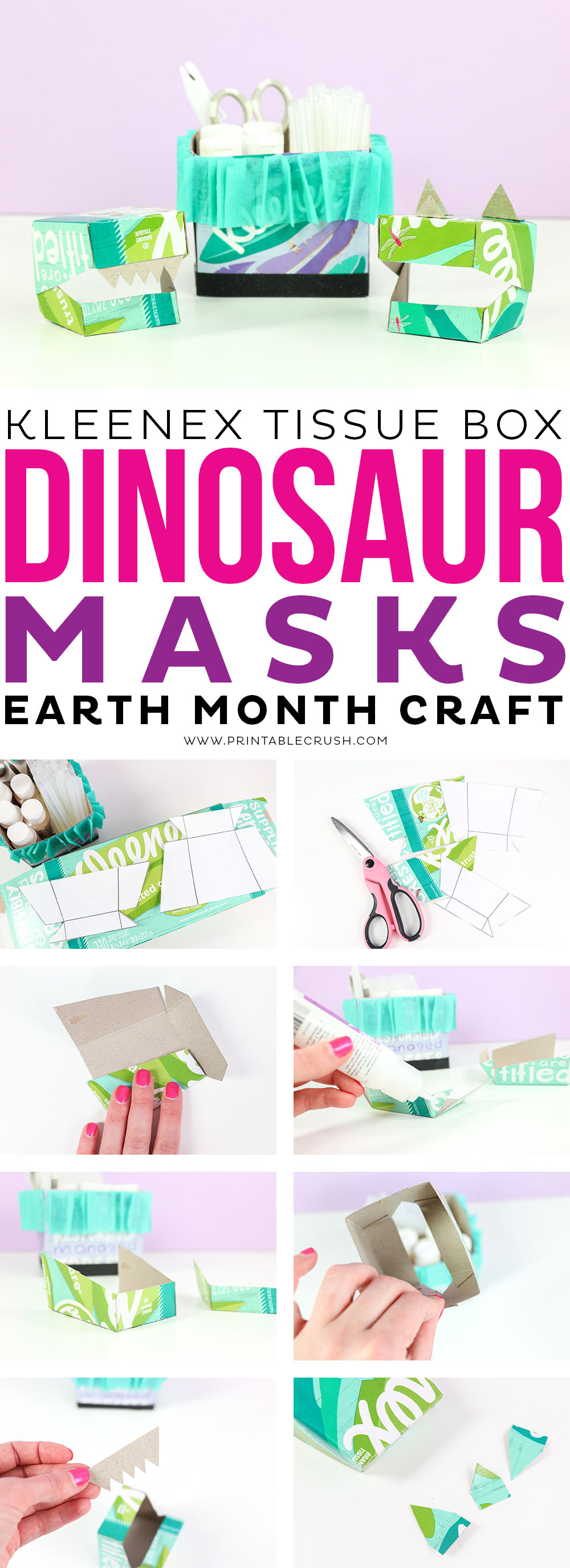 These DIY Dinosaur Masks are the cutest and kids will love this Earth Month Craft made with Kleenex® Tissue Boxes.