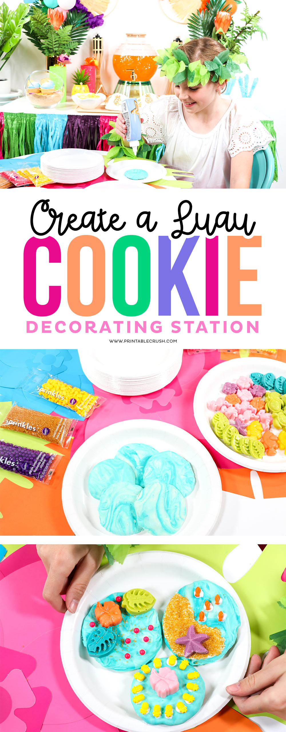 Add a fun Luau Cookie Decorating Station for your next summer party! Requires NO cookie decorating experience.