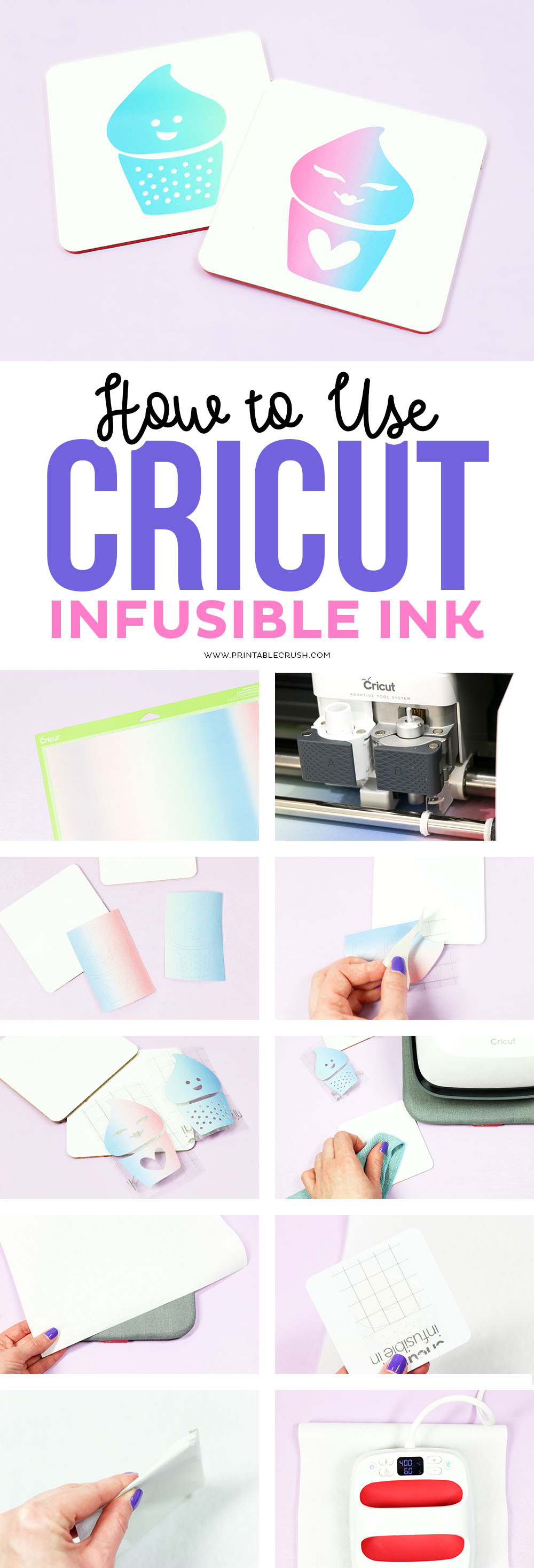 Create some cute cupcake Coasters with this Cricut Infusible Ink tutorial!