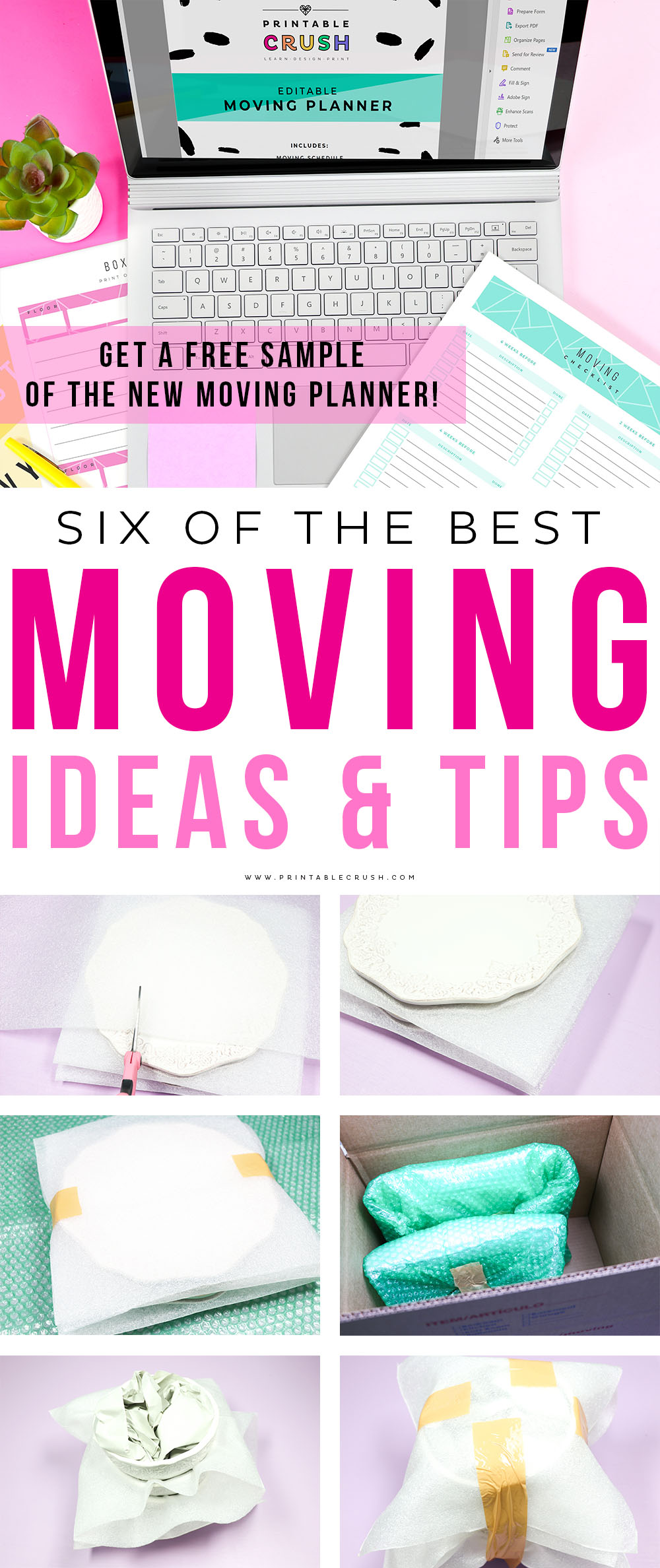 Have a less stressful move with these Moving Ideas and Tips. Plus try a sample of my new Moving Printable Planner Set! #movingtips #movingplanner #movingideas #moving #movingprintable via @printablecrush