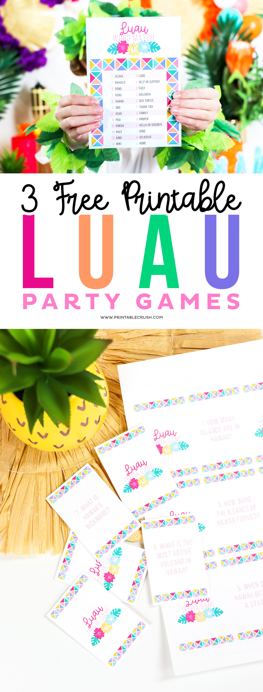 Learn about Hawaiian facts, customs, and geography with these 3 FREE Printable Luau Party Games!