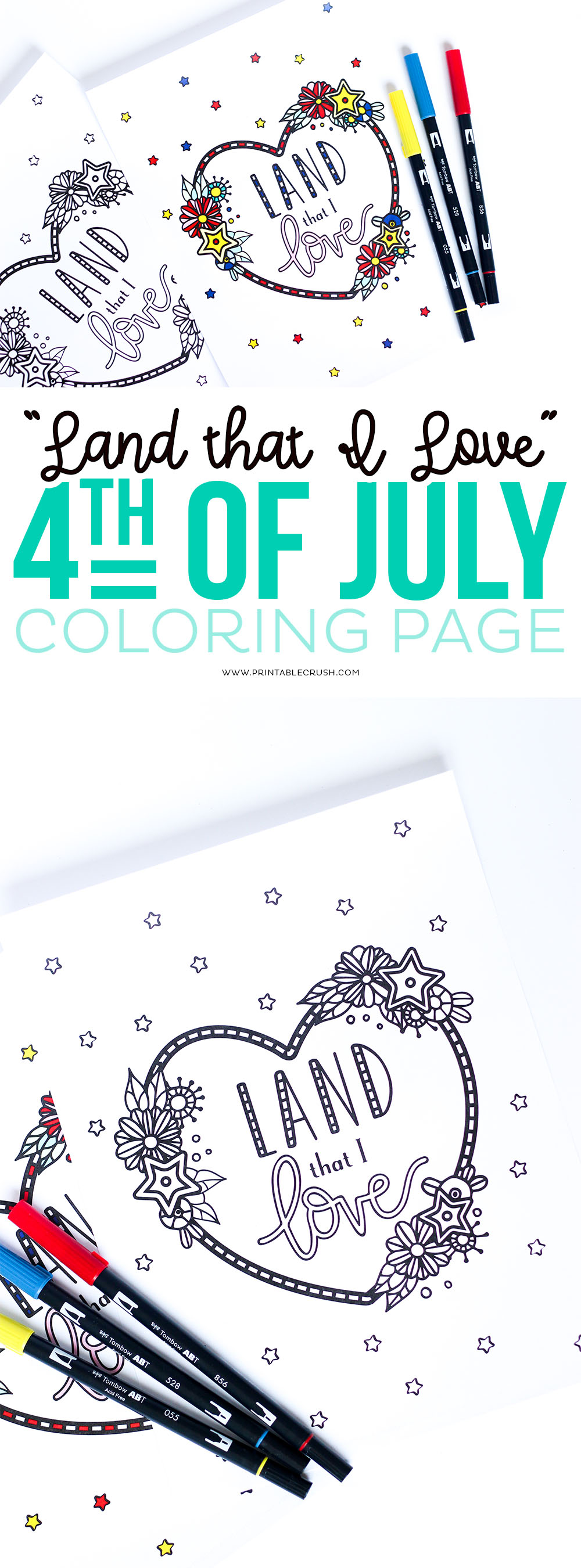 Download this free Land That I Love Fourth of July Coloring Page for a fun summer activity! Kids and adults will love this hand lettered and hand drawn design! #coloringpage #fourthofjuly #handlettered #adultcoloringbook #summercoloringpage