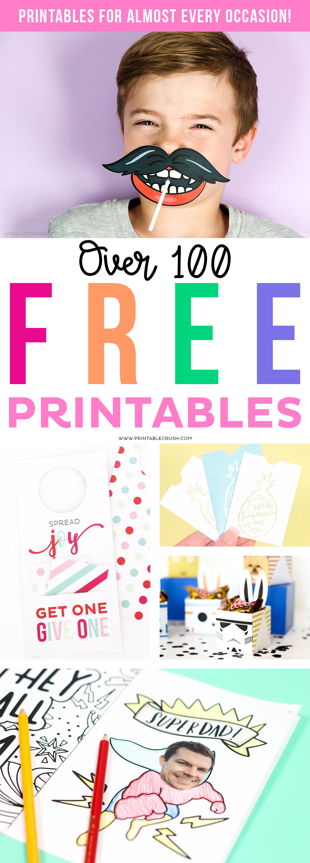 Printable Crush has over 100 FREE Printables for nearly EVERY Occasion! Get access to printable calendars, holiday printables, party printables, activities and more!