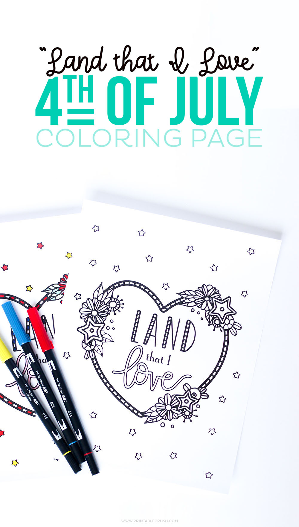Relax this fourth of July with this FREE Land That I Love Coloring Page.
