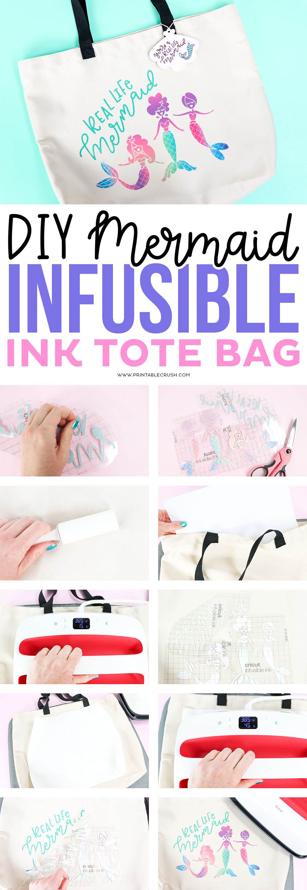 DIY Tutorial for creating a Mermaid Tote Bag with Cricut Infusible Ink.