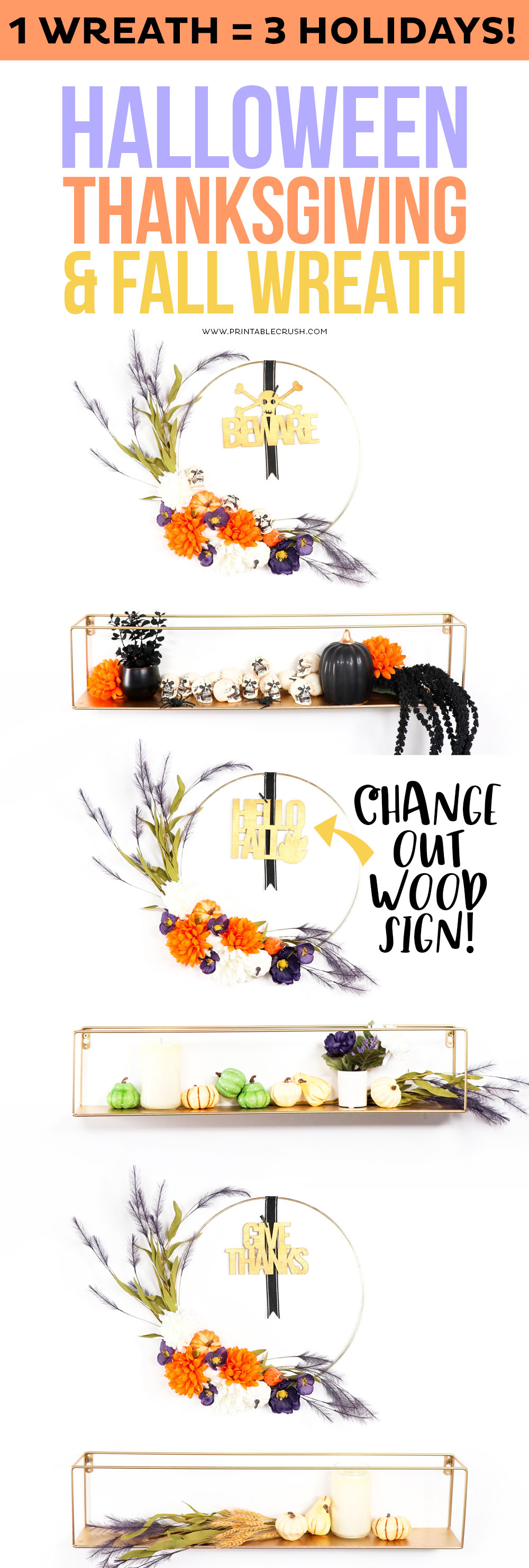 3 in 1 DIY Wreath - Fall Thanksgiving and Halloween Wreath