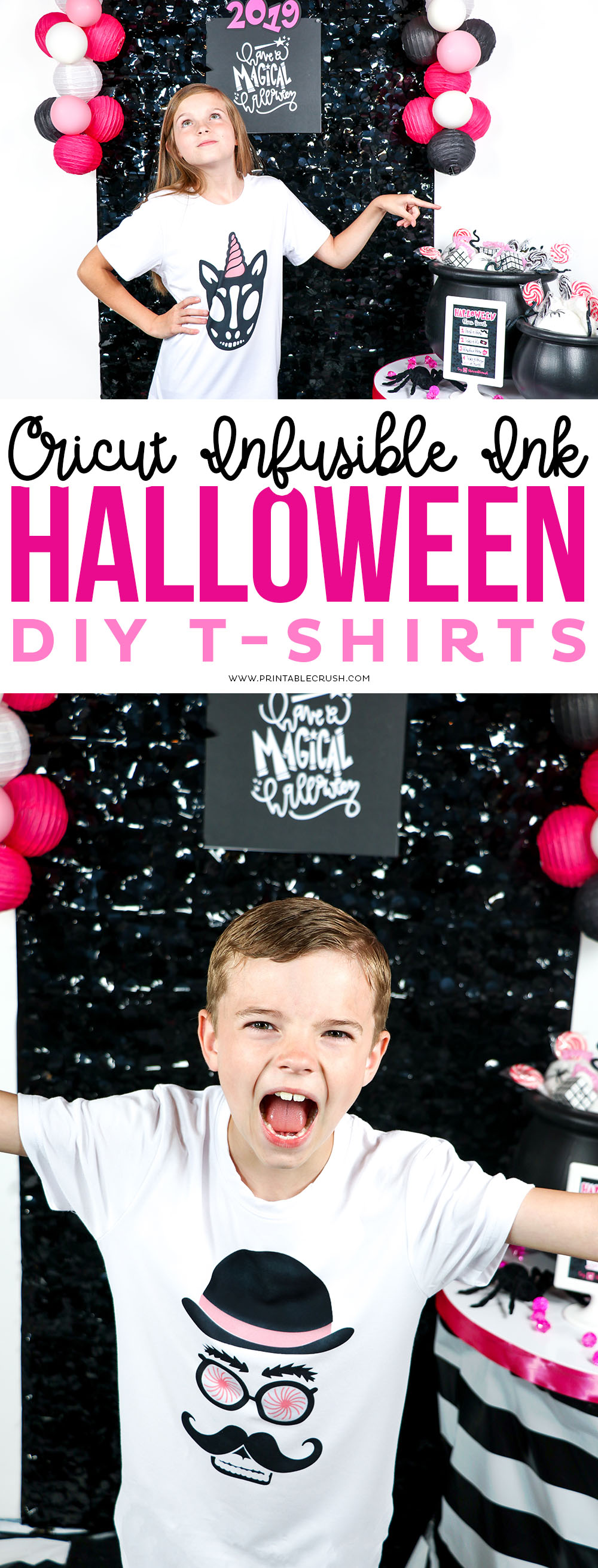 Glam Pink and Black Halloween DIY T-shirt Designs