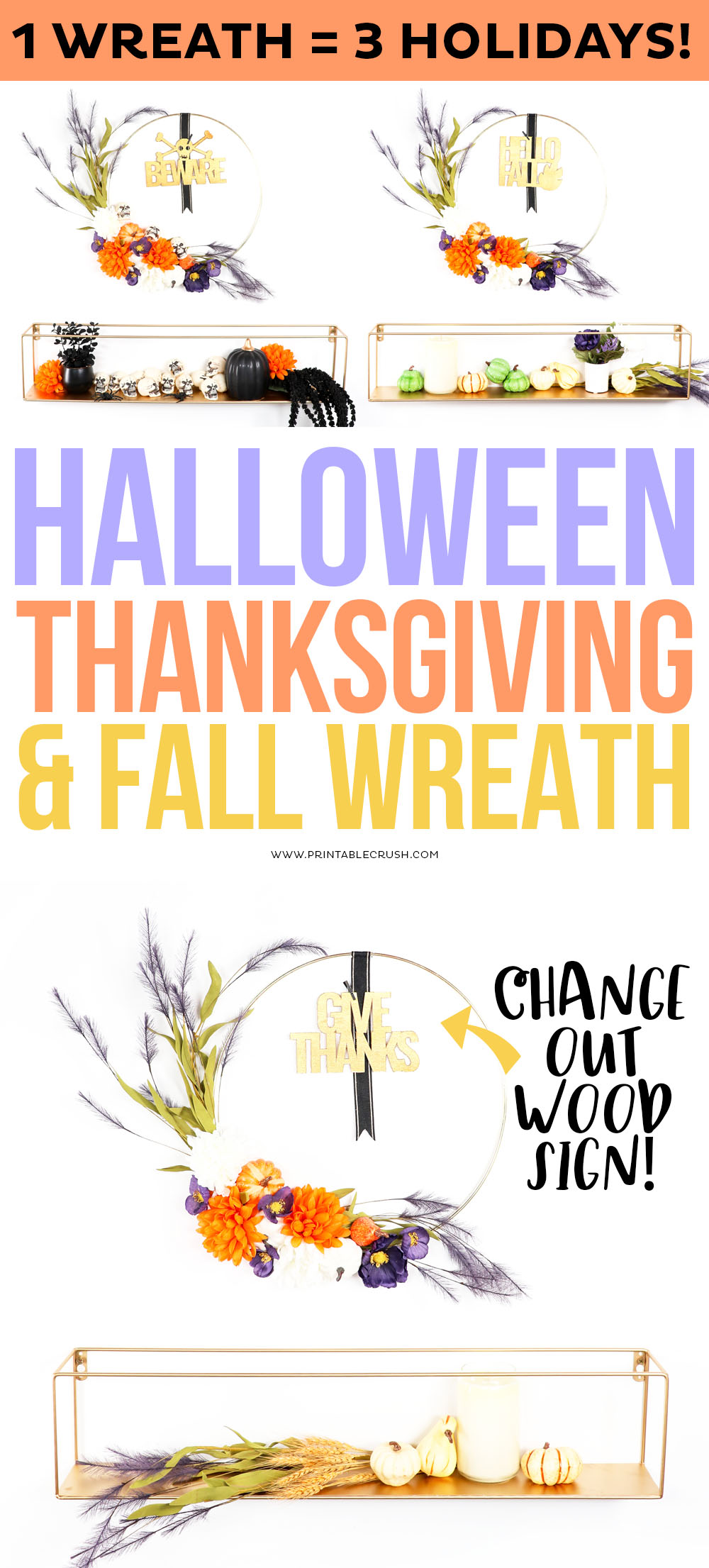 Halloween, Thanksgiving, and DIY Fall Wreath Tutorial - One Wreath for the WHOLE Fall Season! #printablecrush #fallwreath #fallcrafts #halloweenwreath #thanksgivingwreath #thanksgivingcrafts #halloweencrafts #cricutcrafts #daricecrafts via @printablecrush