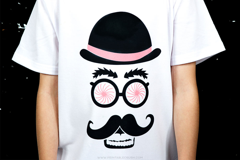 Mad Scientist Bowler Hat Skull mustache t-shirt design