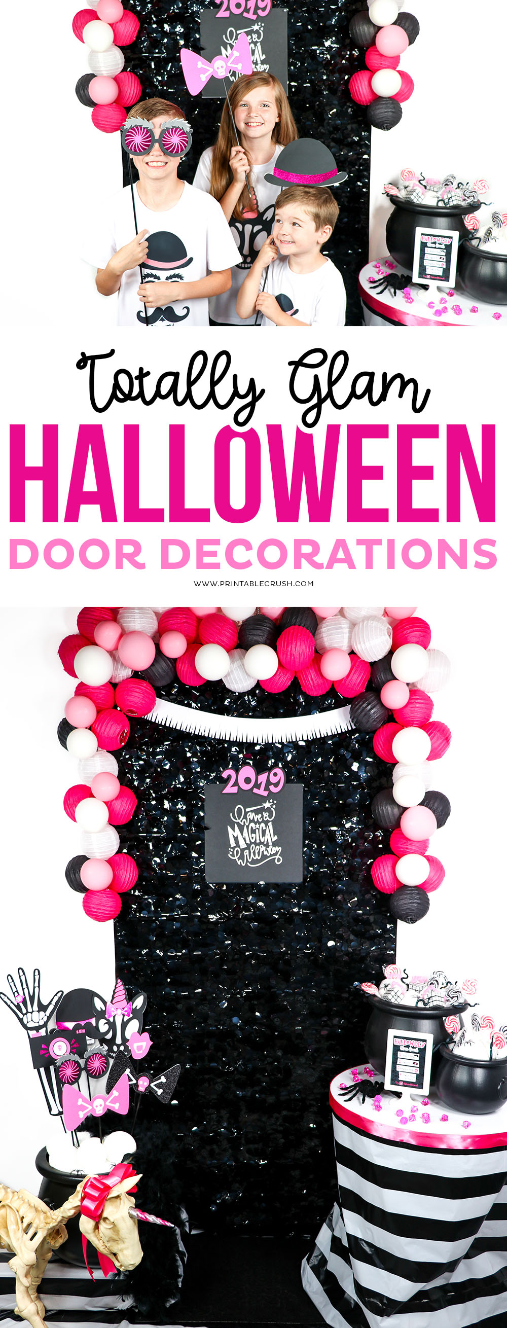Pink Black and White Halloween Door Decorations