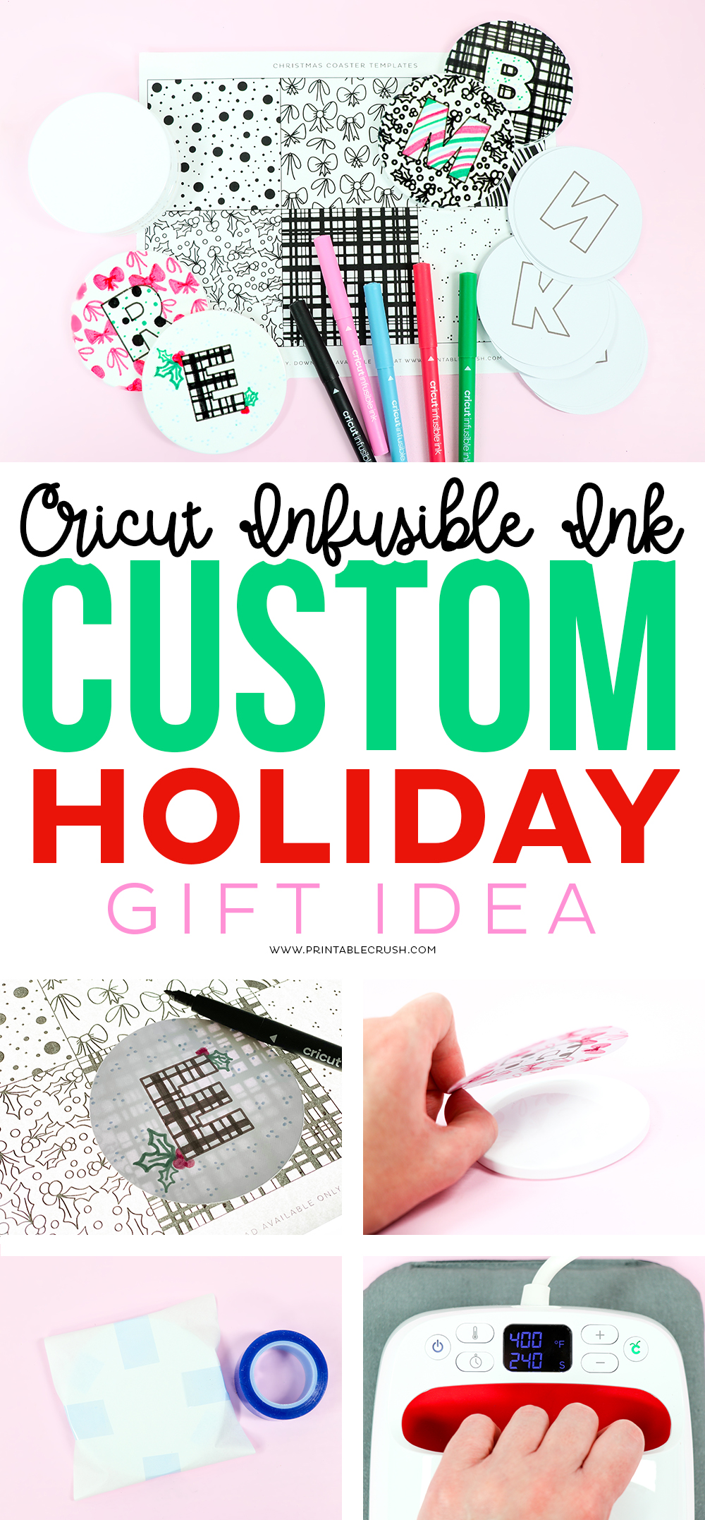 Cricut Holiday CUSTOM Coasters with Cricut Infusible Ink