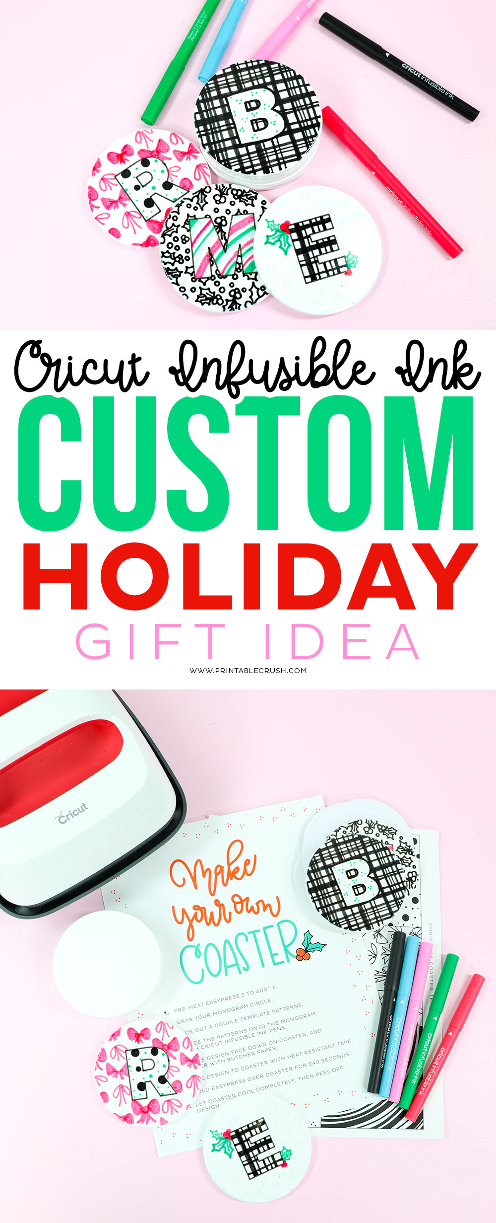 Custom Coasters - Cricut Holiday Gift Idea #cricutgiftidea #cricutholiday #cricutchristmasgift #customcoasters #cricutinfusibleink #infusibleink #cricutgift #cricutholidaygift #cricutcrafts