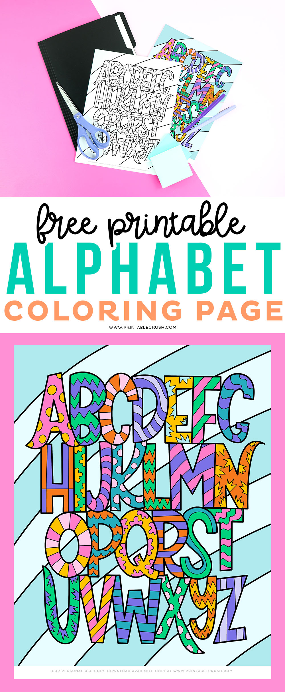 Help your kids learn their ABC's in a fun way with this Free Printable Alphabet Coloring Page! #freeprintable #coloringpage #preschoolactivity #alphabetcoloringpage #alphabetlearning