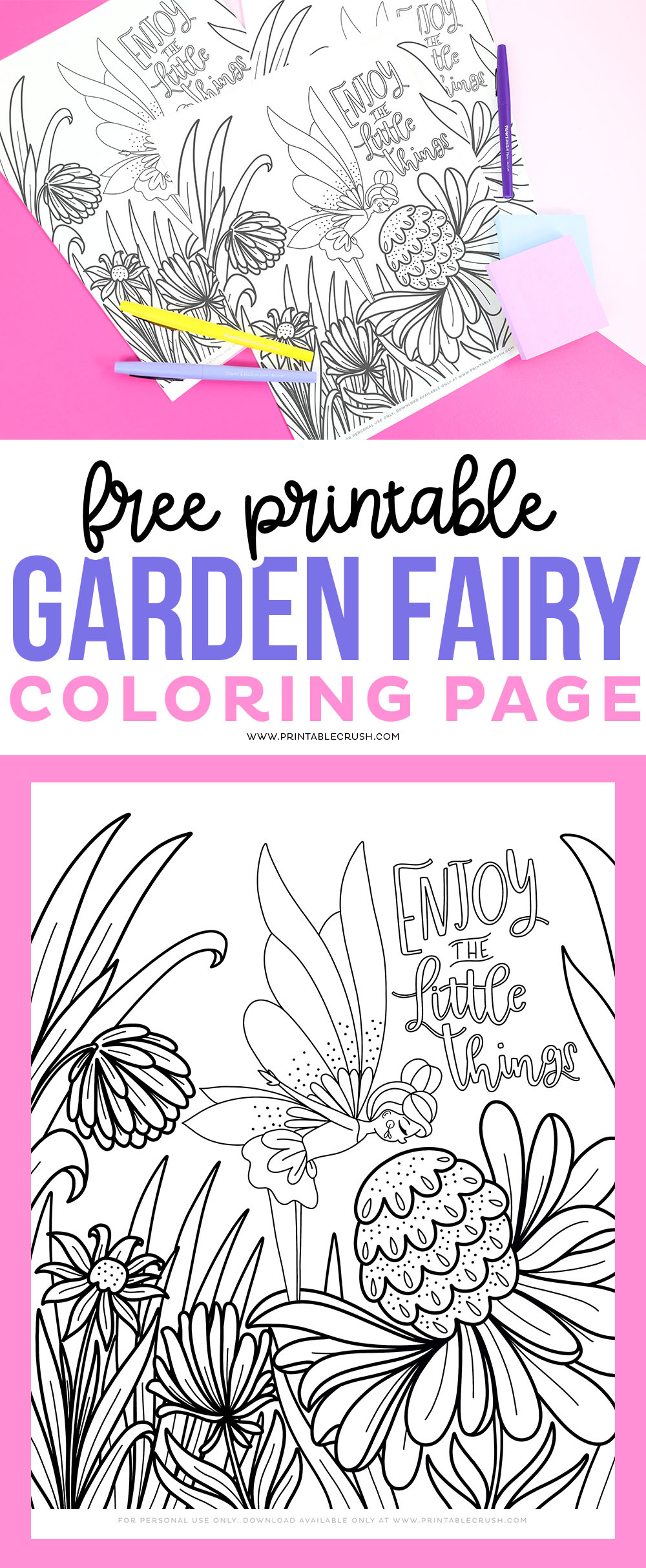 Free Garden Fairy Coloring Page Printable Crush