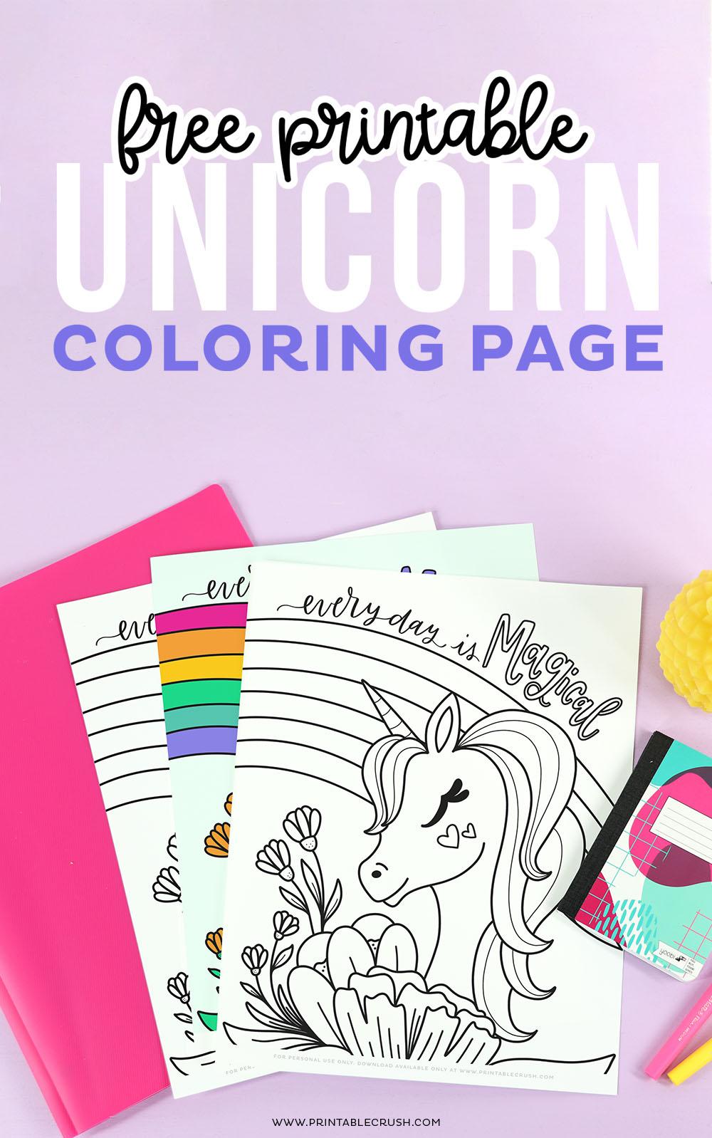 Unicorn Coloring Sheet Free Printable