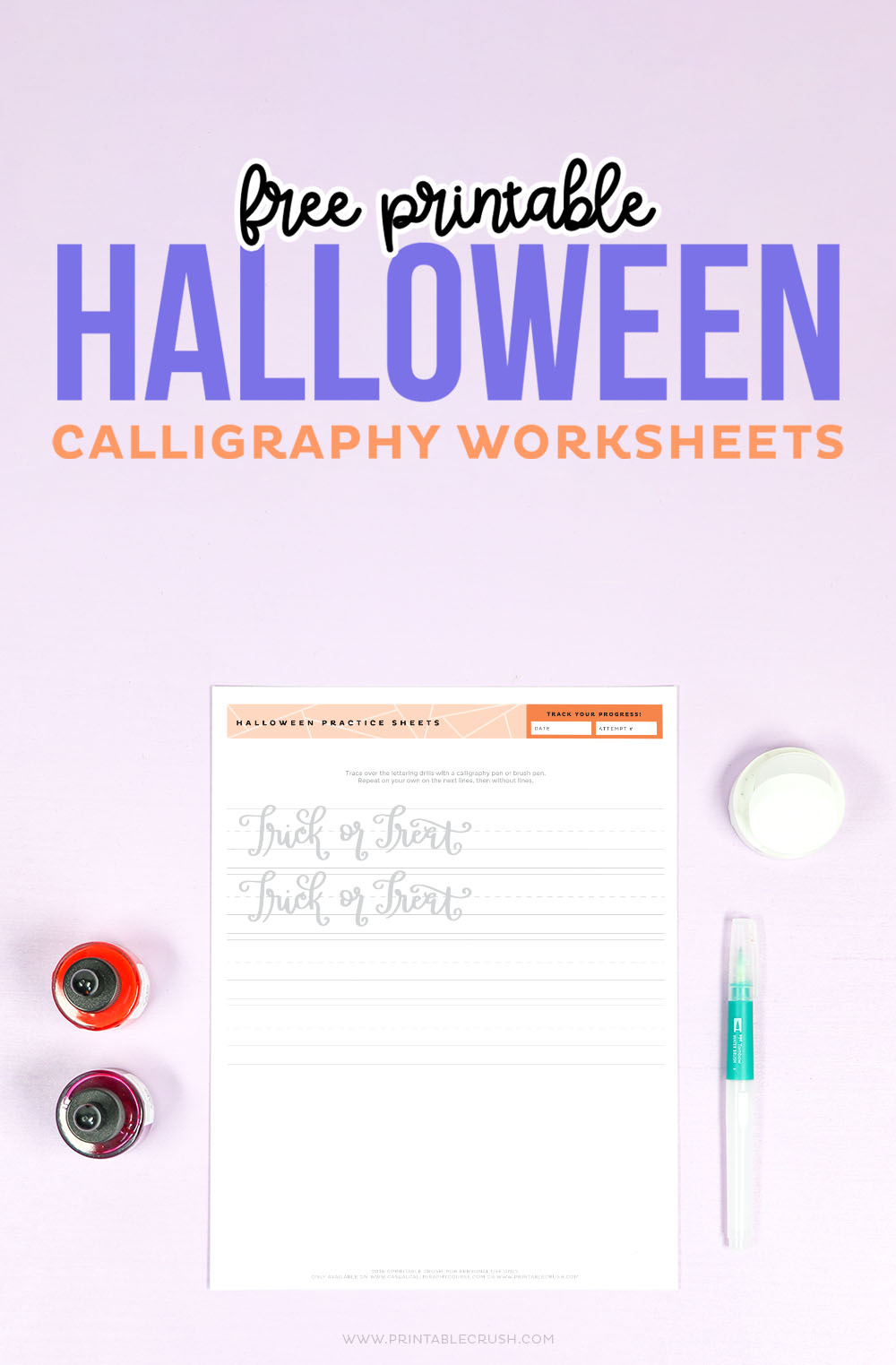 Halloween Calligraphy Worksheets