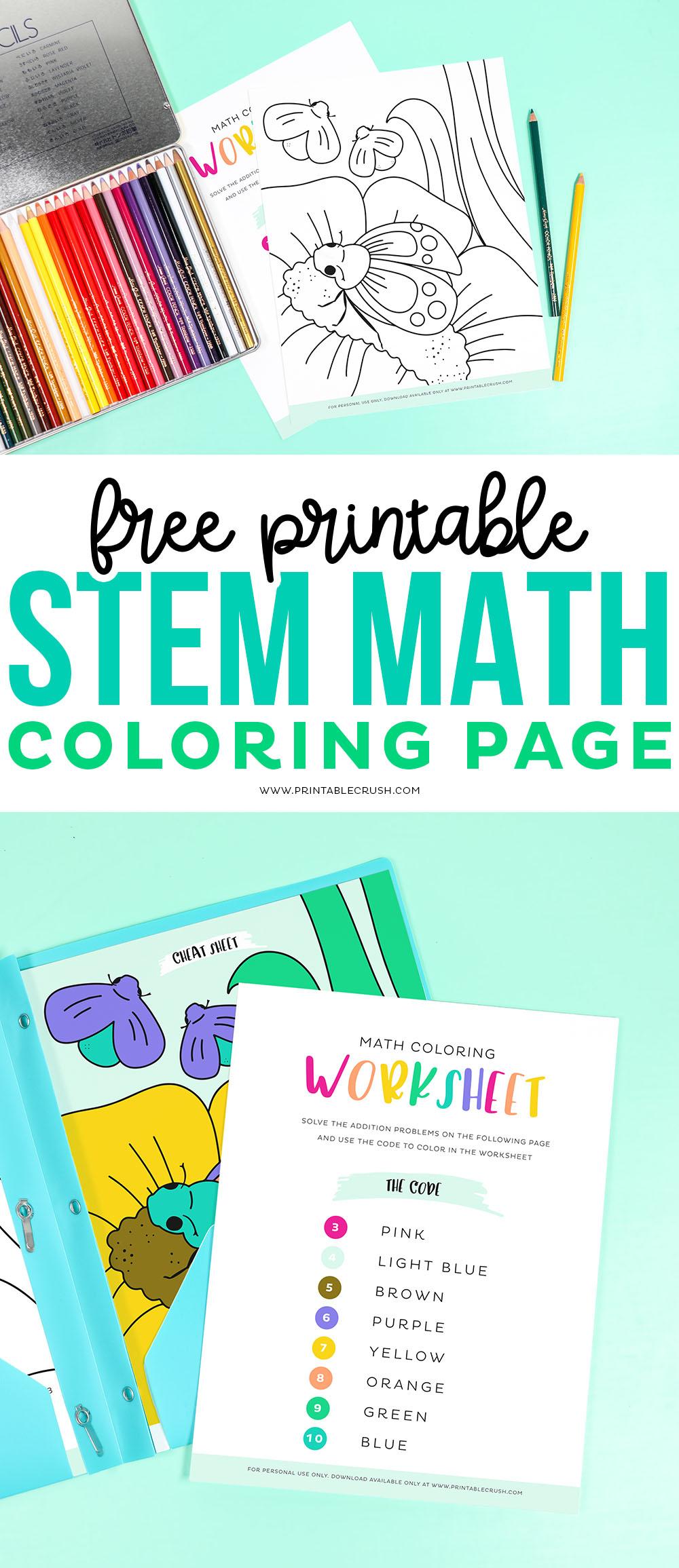 STEM Math Coloring Worksheet – Free Printable via @printablecrush