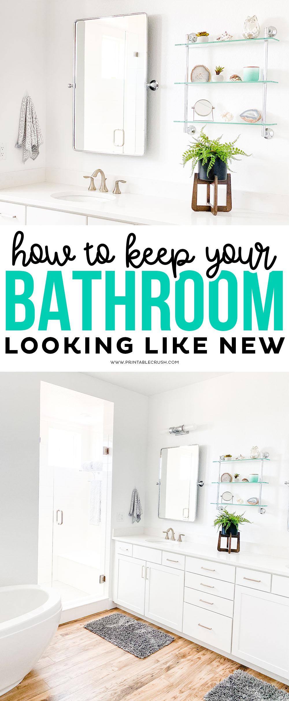 How to Keep a Clean Bathroom - Printable Crush #cleanbathroom #cleaningtips #homedecor #bathroomdecor #cleanbathroom via @printablecrush