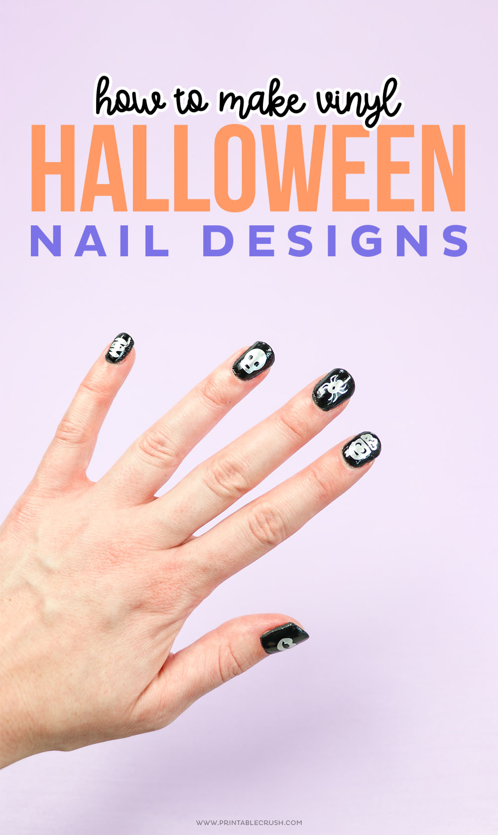 How to Make Vinyl Halloween Nail Designs - Printable Crush