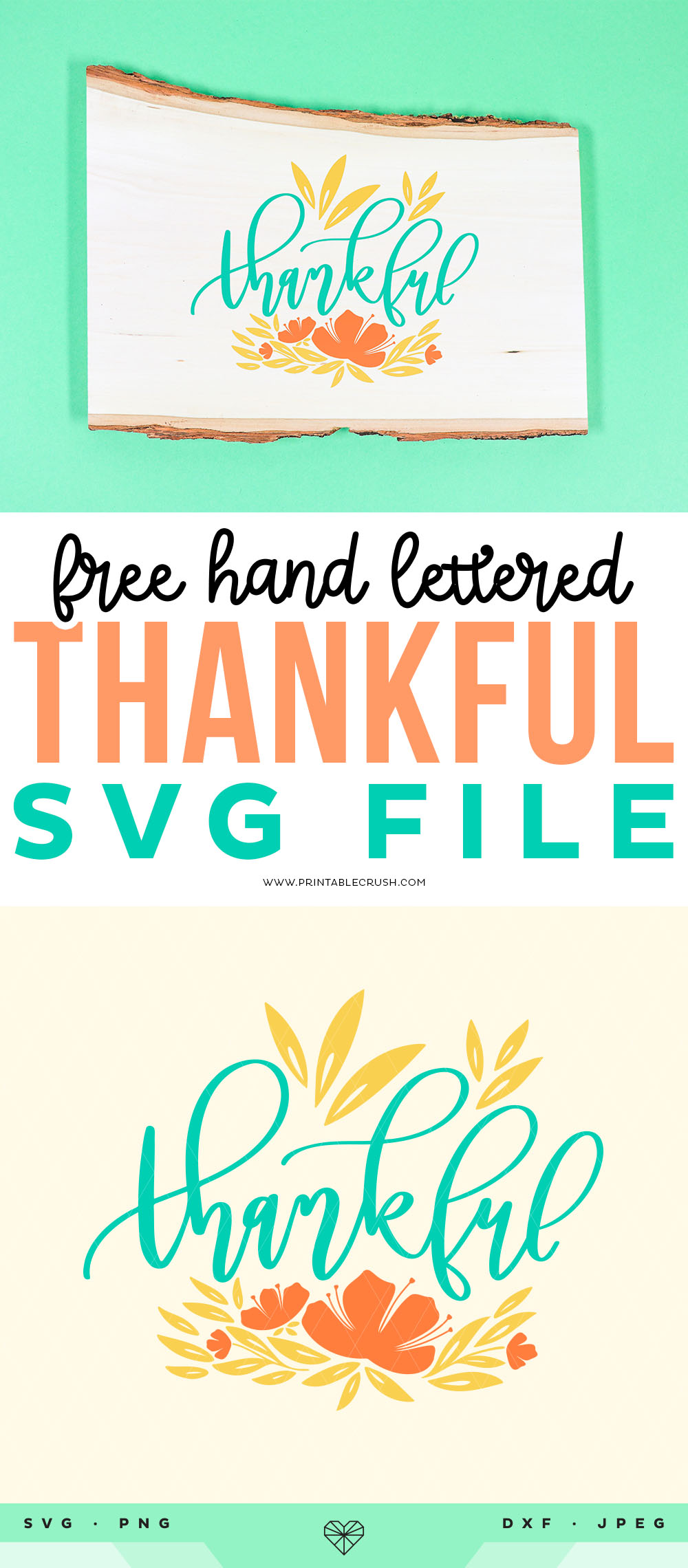Free Thanksgiving SVG File - Thankful SVG File - Thankful Wood Sign - Printable Crush