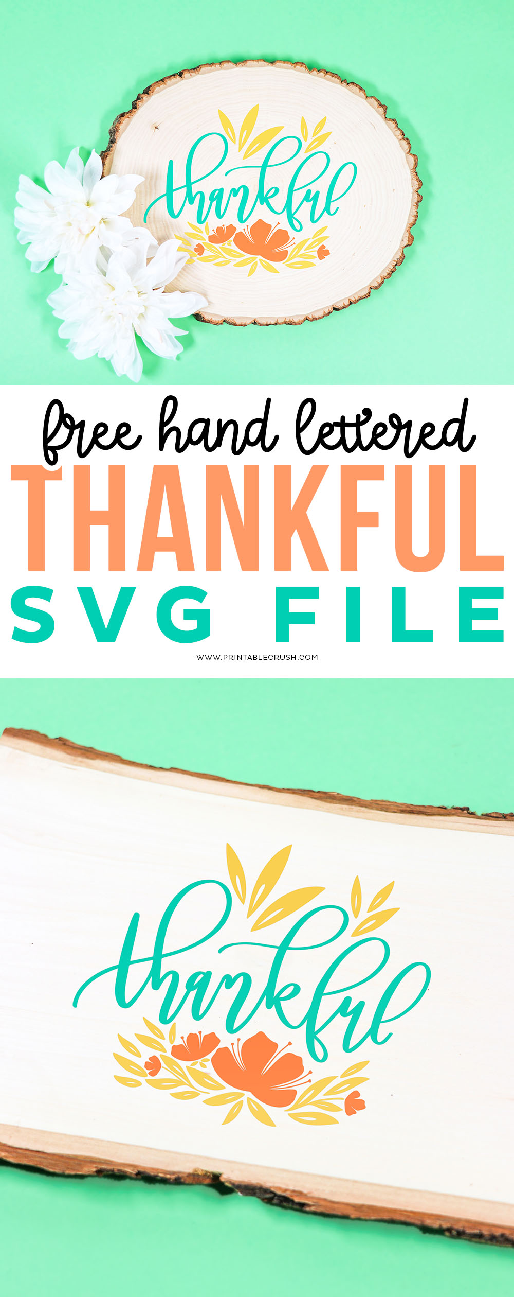 Totally Free Hand Lettered Thankful SVG File - Printable Crush