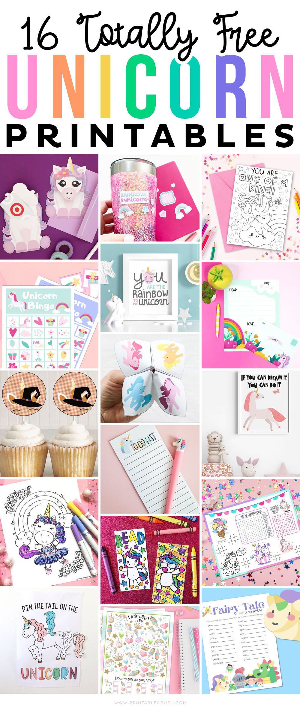 16 Totally FREE Unicorn Printables