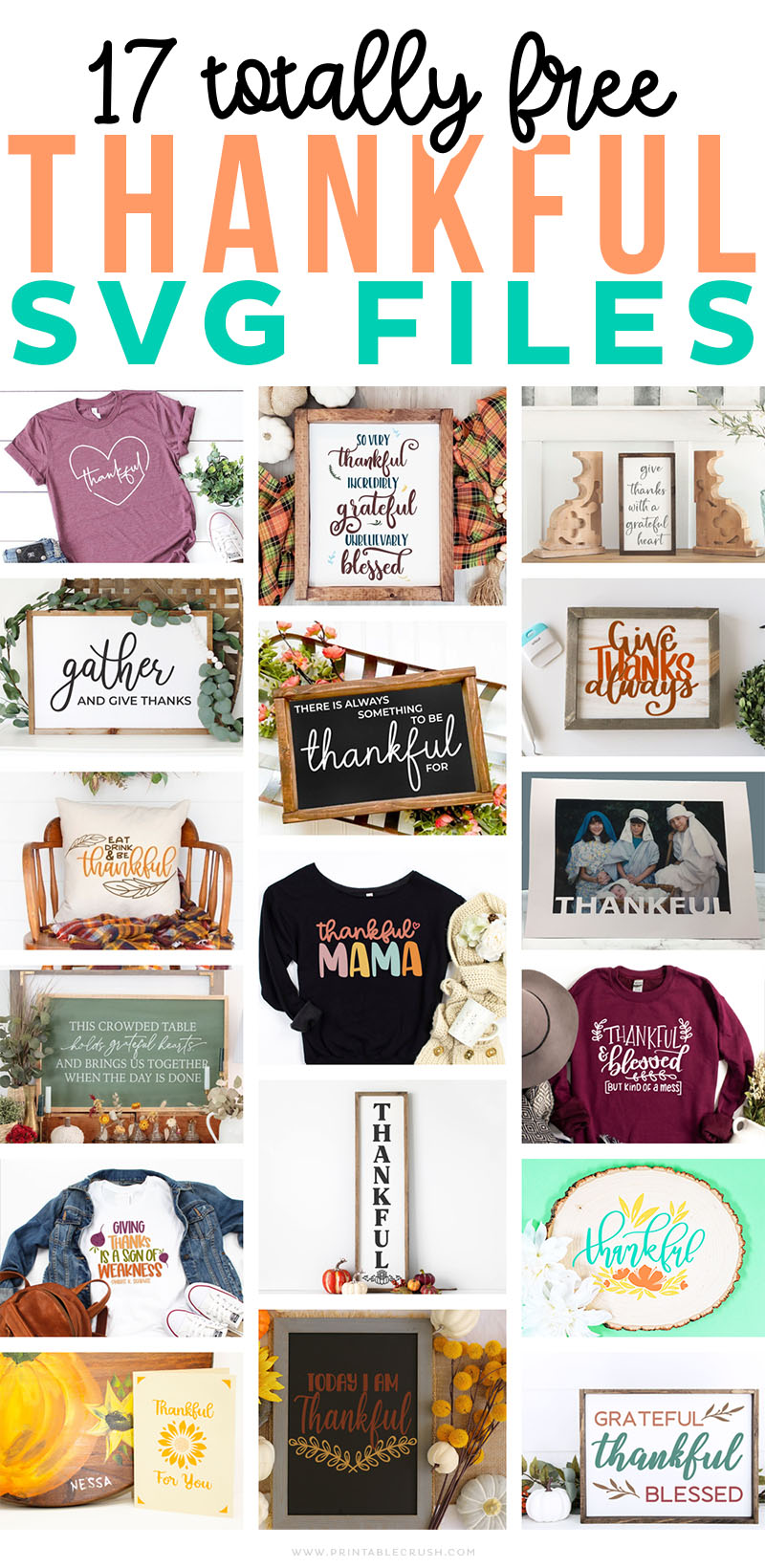 17 FREE Thankful SVG Files - free Thanksgiving SVG Files - Printable Crush