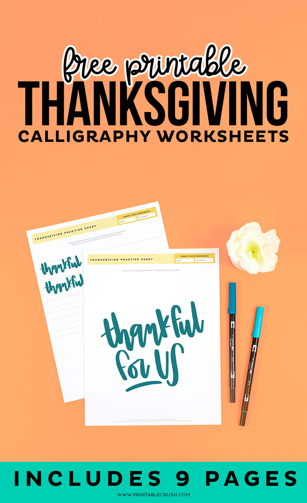 9 Free Thanksgiving Calligraphy Practice Sheets - Thankful for Us Lettering Worksheets