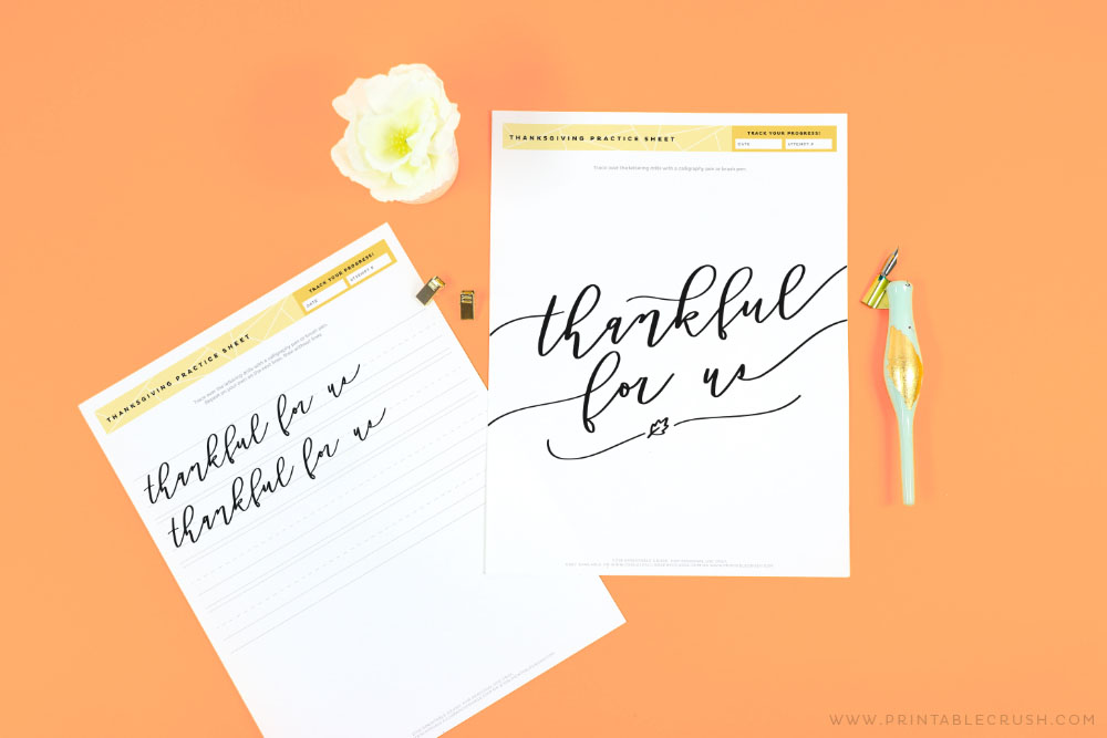 Calligrphy Practice Sheets for Thanksgiving - Printable Crush