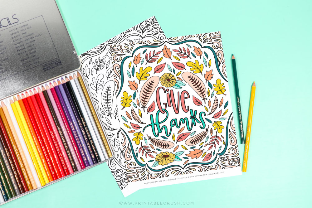 Coloring Page for Thanksgiving - Give Thanks - Printable Crush