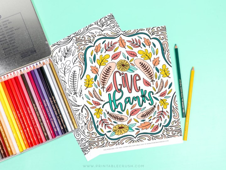 Give Thanks Coloring Page – Free Printable