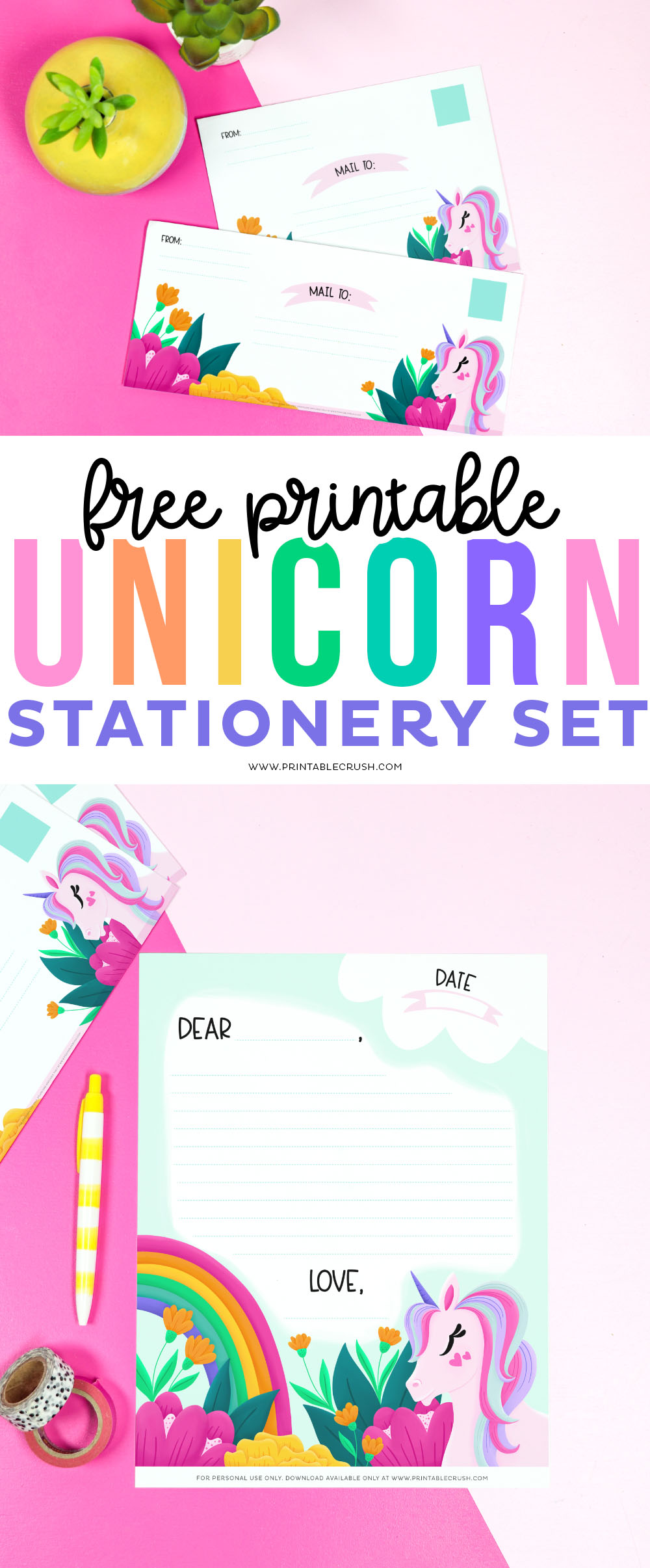 Free Unicorn Stationery Printable Set - Includes letter stationery and envelopes in two sizes - Printable Crush #unicorns #unicornstationery #stationery #unicornprintable #freeprintable #freeprintables #printablecrush via @printablecrush