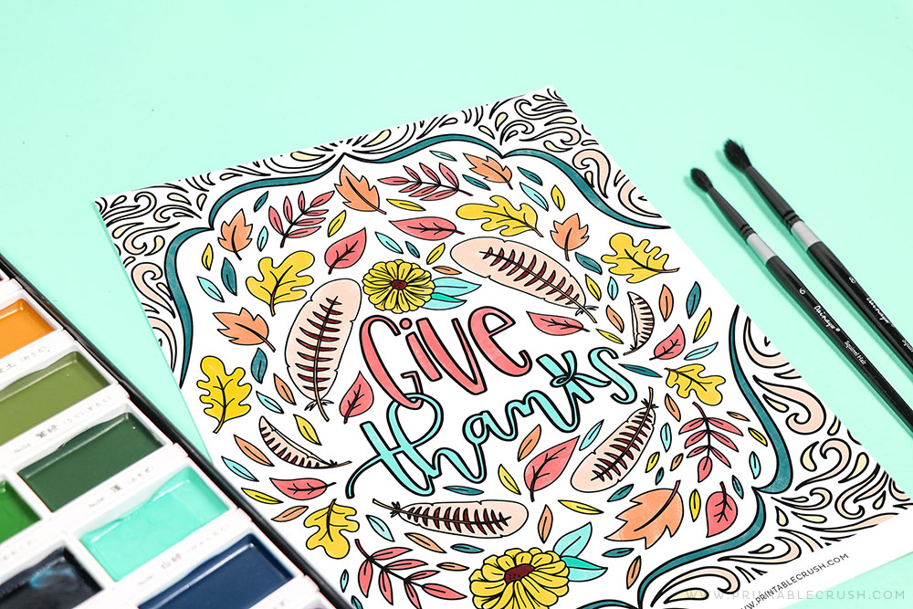 Give Thanks Hand Lettered Coloring Sheet - Printable Crush