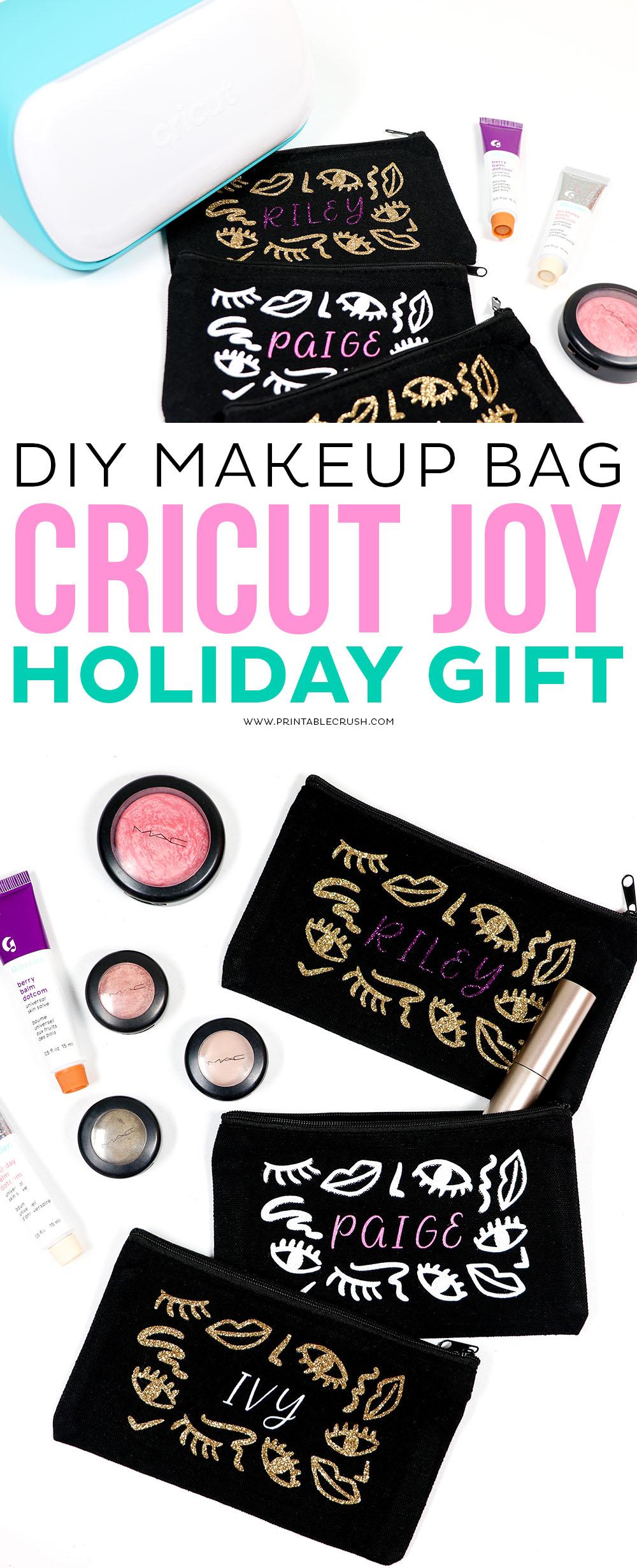DIY Makeup Bag - Cricut Joy Holiday Gift - DIY Cricut Gift Idea - Cricut Holiday Gift Idea - Printable Crush #cricutjoy #cricut #cricuttutorials #cricutmade #cricutcreated #holidaygiftideas #christmasgiftideas via @printablecrush