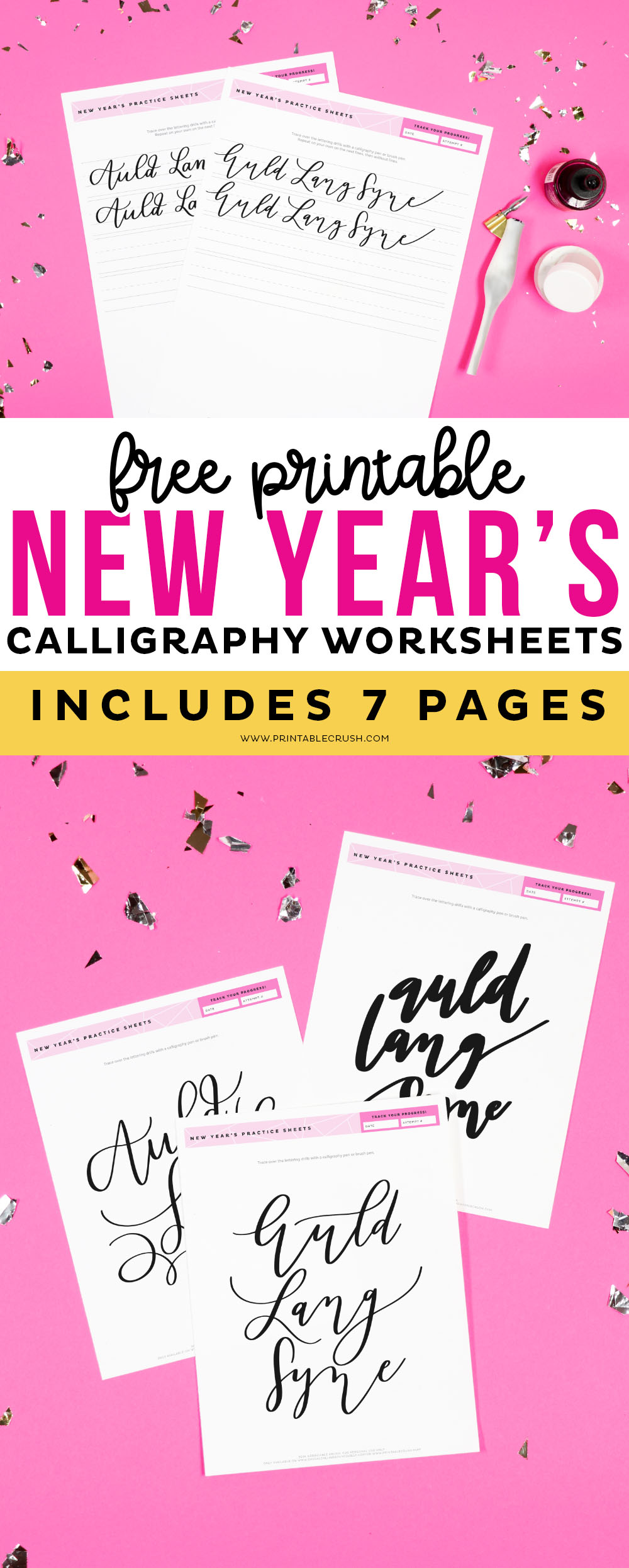 Free Auld Lang Syne Calligraphy Worksheets - New Year's Hand Lettering Practice Sheets - Calligraphy Practice - Printable Crush #handlettering #calligraphy #calligraphyworksheets via @printablecrush