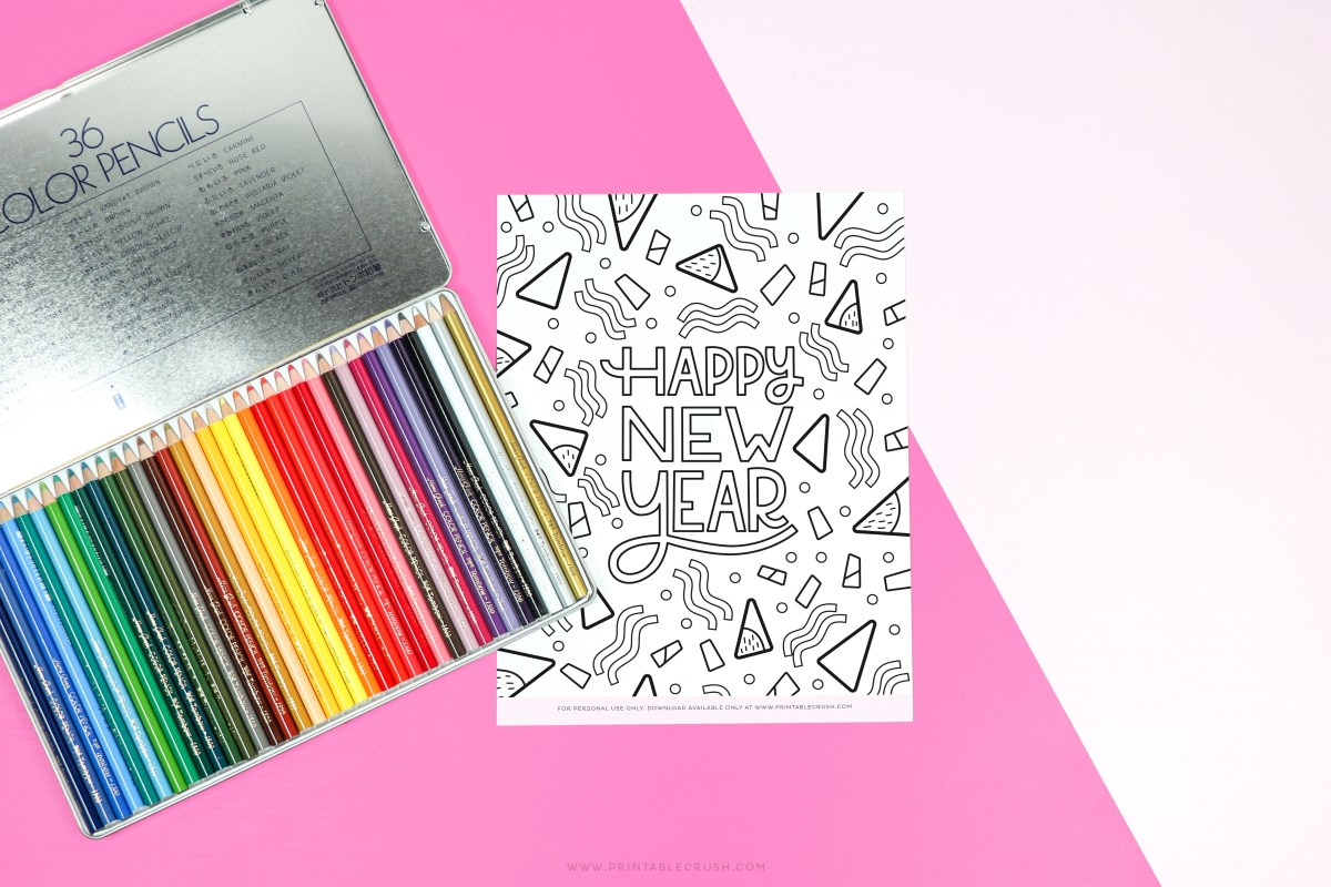 Free Coloring Page - Colored Pencils - Tombow Colored Pencils - Coloring Page New Year's - Printable Crush