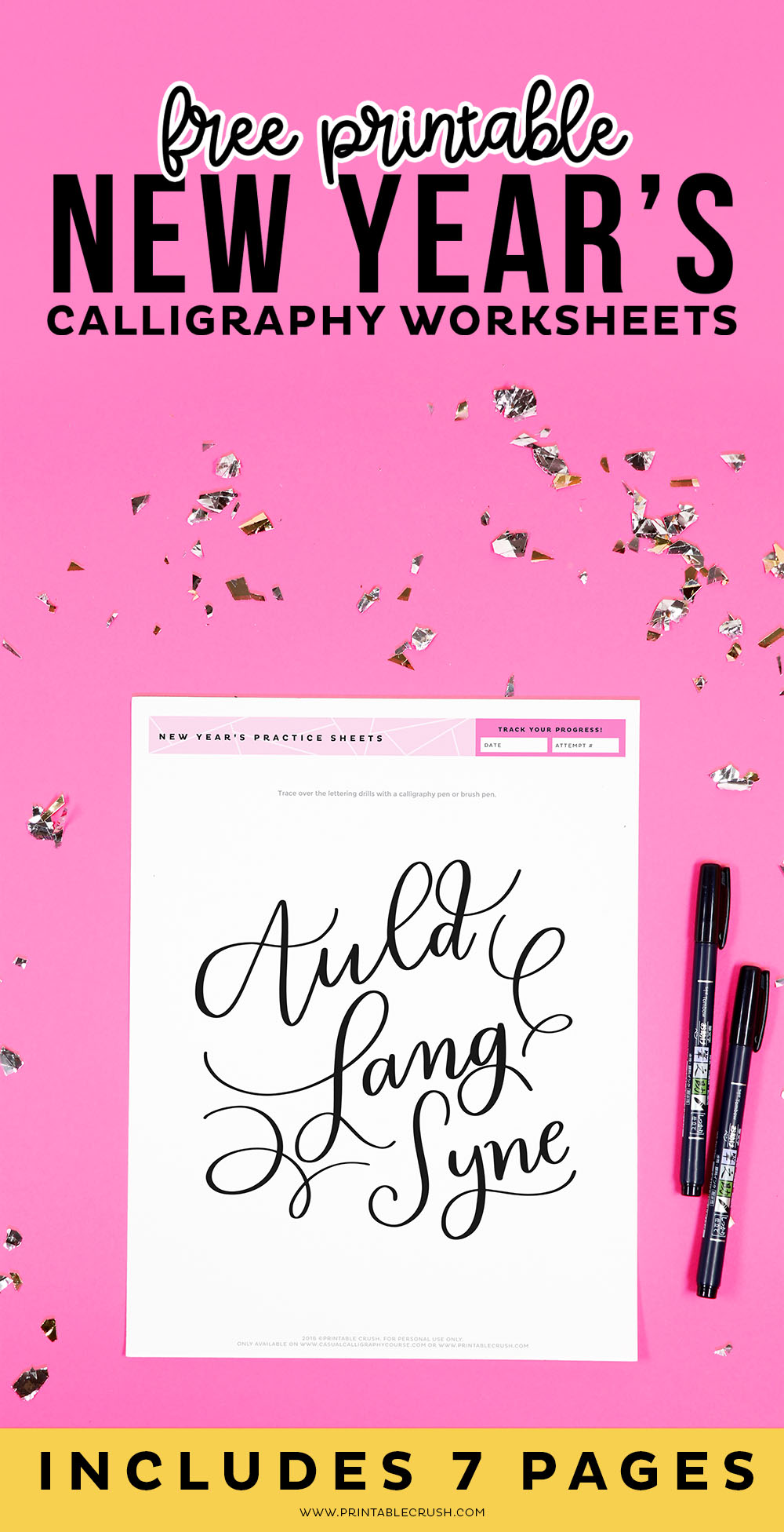 Free Printable New Year's Calligraphy Worksheets - Auld Lang Syne Calligraphy Practice - Printable Crush