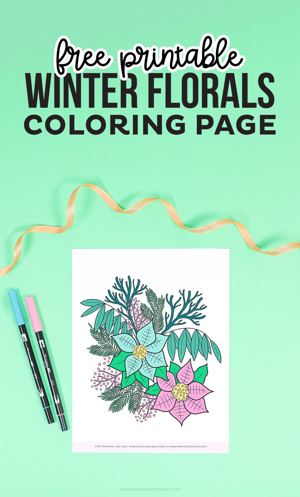 Free Winter Florals Coloring Sheet- Winter Florals Coloring Page - Free Winter Coloring Page - Printable Crush
