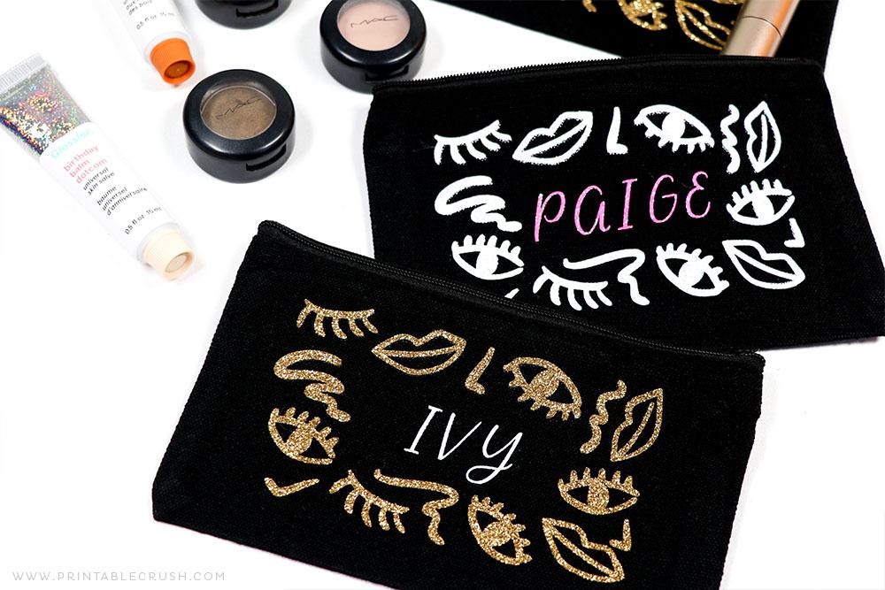 Makeup Bag Gift - Makeup Bag Christmas Gift - Makeup Holiday Gift Idea - Cricut Tutorial - Printable Crush