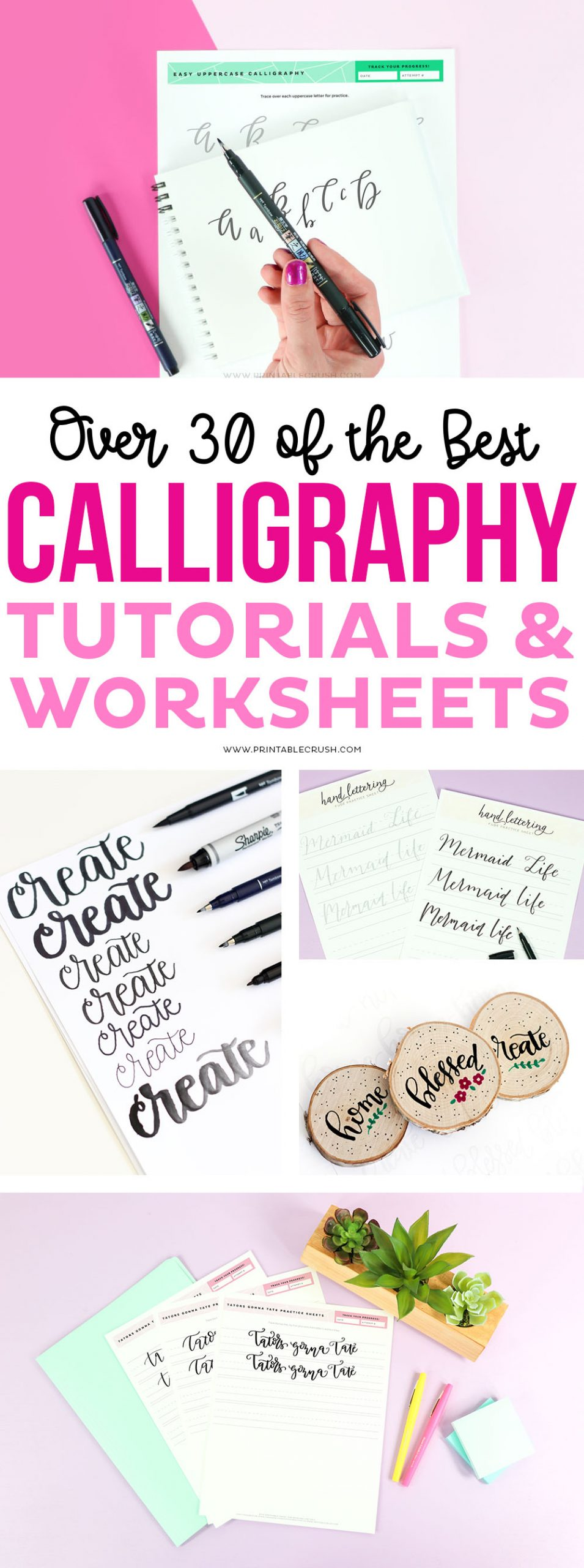Over 30 of the Best Calligraphy Tutorials and Worksheets via @printablecrush