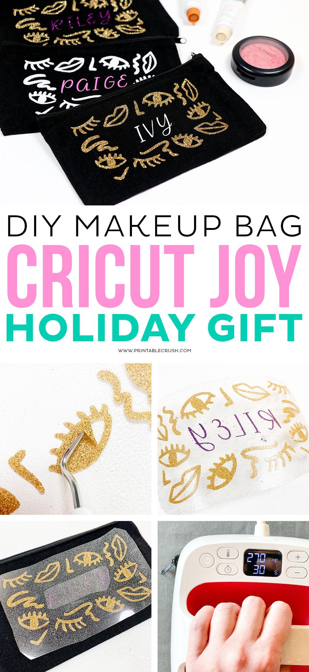Tutorial for Iron-on Makeup Bag - DIY Holiday Cricut Joy Gift Idea - Cricut Gift Idea - Cricut Christmas Gift - Printable Crush